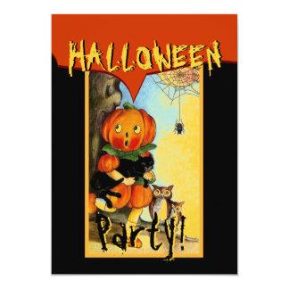 Vintage Halloween Pumpkin Owls Cat Spider Card