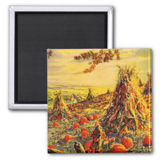 Vintage Halloween Pumpkin Patch with Haystacks 2 Inch Square Magnet