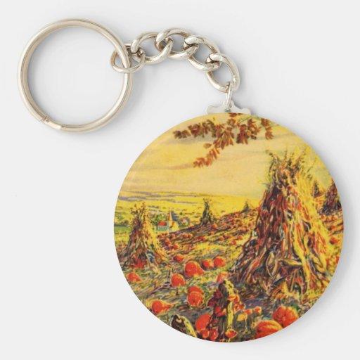 Vintage Halloween Pumpkin Patch with Haystacks Basic Round Button Keychain
