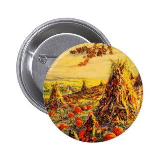 Vintage Halloween Pumpkin Patch with Haystacks 2 Inch Round Button