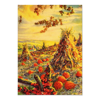 Vintage Halloween Pumpkin Patch with Haystacks Card