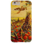 Vintage Halloween Pumpkin Patch with Haystacks Barely There iPhone 6 Plus Case