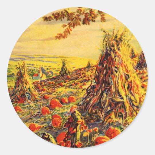Vintage Halloween Pumpkin Patch with Haystacks Classic Round Sticker