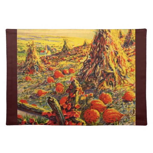 Vintage Halloween Pumpkin Patch with Haystacks Cloth Placemat