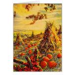 Vintage Halloween Pumpkin Patch with Haystacks Greeting Card