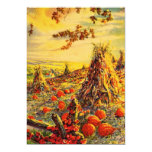 Vintage Halloween Pumpkin Patch with Haystacks Custom Announcement