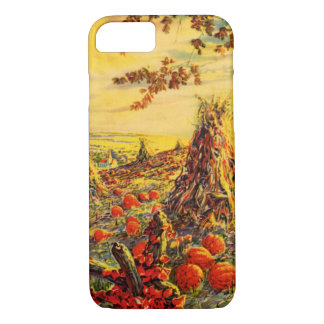 Vintage Halloween Pumpkin Patch with Haystacks iPhone 7 Case