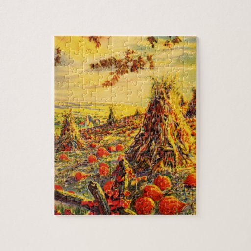 Vintage Halloween Pumpkin Patch with Haystacks Jigsaw Puzzle