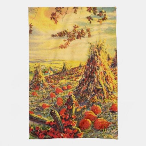 Vintage Halloween Pumpkin Patch with Haystacks Hand Towel