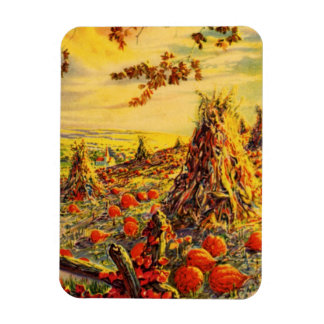 Vintage Halloween Pumpkin Patch with Haystacks Magnet