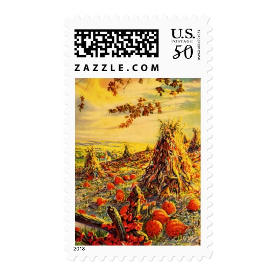Vintage Halloween Pumpkin Patch with Haystacks Postage