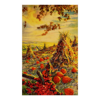Vintage Halloween Pumpkin Patch with Haystacks Poster
