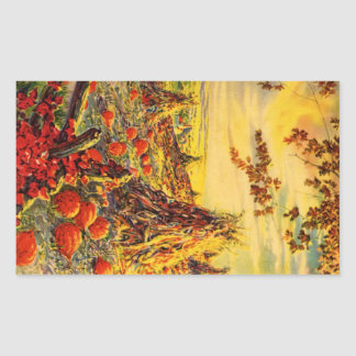 Vintage Halloween Pumpkin Patch with Haystacks Rectangular Sticker
