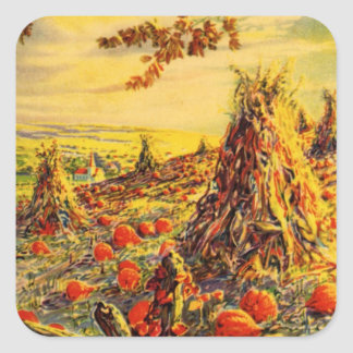 Vintage Halloween Pumpkin Patch with Haystacks Square Sticker