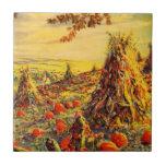 Vintage Halloween Pumpkin Patch with Haystacks Ceramic Tile