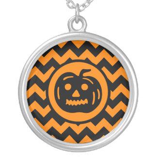 Vintage Halloween pumpkin Silver Plated Necklace