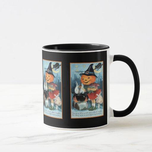 Vintage Halloween Pumpkin Witch Girl Mug