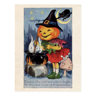 Vintage Halloween Pumpkin Witch Postcard