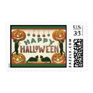 Vintage Halloween Pumpkins Black Cats-Postage