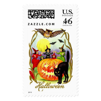 Vintage Halloween Pumpkins Cats and Witches Postage Stamps