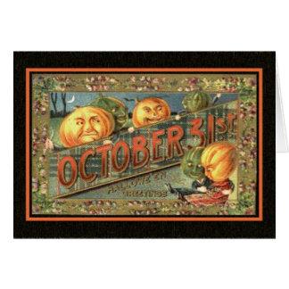 Vintage Halloween Pumpkins Greeting Card