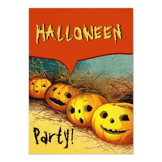 Vintage Halloween Pumpkins in Field V11 Card