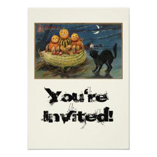 """Vintage Halloween Pumpkins 5"""" X 7"""" Invitation Card"""