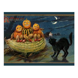 Vintage Halloween Pumpkins Postcard