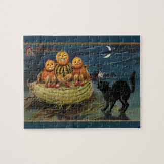 Vintage Halloween Pumpkins Puzzle