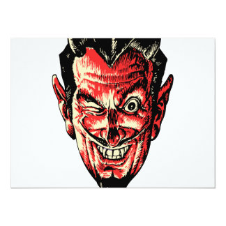 Vintage Halloween Red Devil Head Card