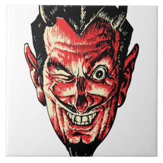 Vintage Halloween Red Devil Head Tile