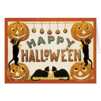 Vintage Halloween, Retro Black Cats Pumpkins Greeting Cards