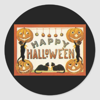 Vintage Halloween, Retro Black Cats Pumpkins Round Stickers