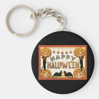 Vintage Halloween, Retro Cats with Pumpkins Basic Round Button Keychain