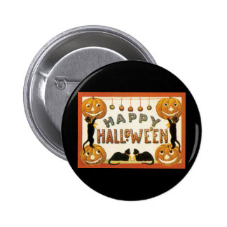 Vintage Halloween, Retro Cats with Pumpkins Button