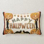 Vintage Halloween, Retro Cats with Pumpkins Lumbar Pillow