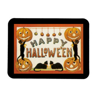 Vintage Halloween, Retro Cats with Pumpkins Magnet
