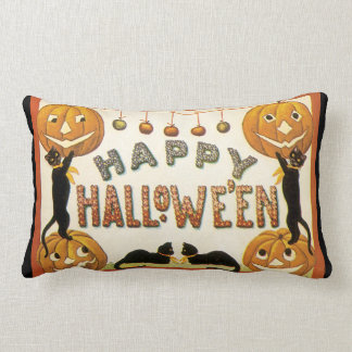 Vintage Halloween, Retro Cats with Pumpkins Pillows