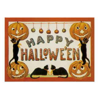 Vintage Halloween, Retro Cats with Pumpkins Poster