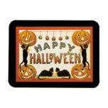 Vintage Halloween, Retro Cats with Pumpkins Rectangular Photo Magnet
