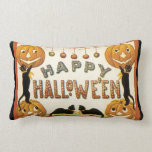 Vintage Halloween, Retro Cats with Pumpkins Throw Pillows