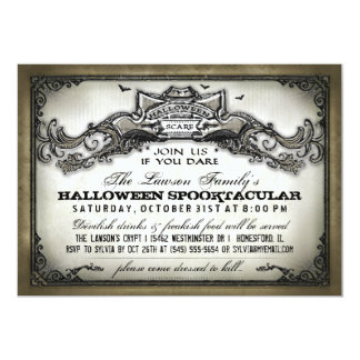 Vintage Halloween Scare Join Us if You Dare Invite