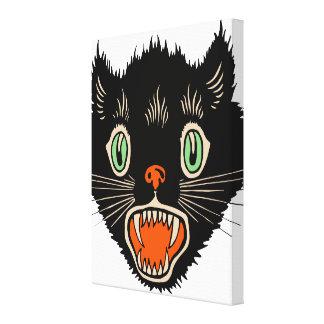 Vintage Halloween Scared Black Cat Canvas Print