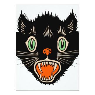 Vintage Halloween Scared Black Cat Card