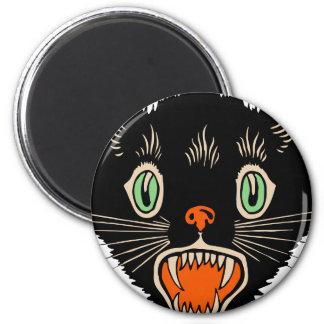 Vintage Halloween Scared Black Cat Magnet