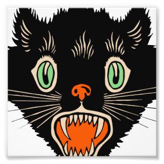 Vintage Halloween Scared Black Cat Photo Print