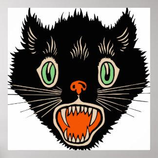 Vintage Halloween Scared Black Cat Poster