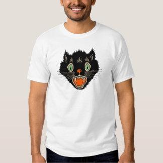 Vintage Halloween Scared Black Cat T Shirt