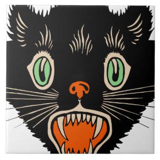 Vintage Halloween Scared Black Cat Tile