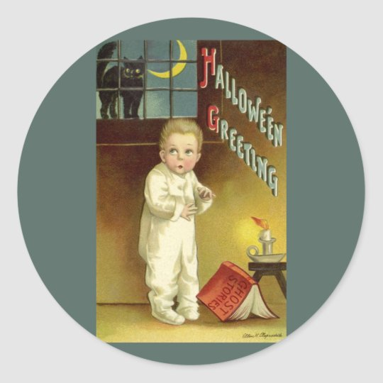Vintage Halloween, Scared Boy with Black Cat Classic Round Sticker